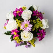 flores arranjo rosa branca margarida pink 2