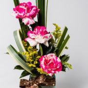 flores arranjo rosa rajada 2