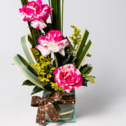 flores arranjo rosa rajada 3