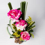 flores arranjo rosa rajada 4